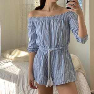 Blue White Striped Off Shoulder Romper Boho